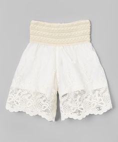Just Couture Ivory Lace Overlay Shorts - Infant & Kids | zulily