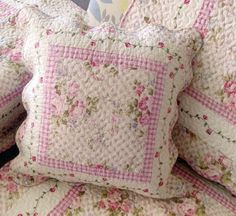 Victorian Shabby Chic Pink Roses French Romantic Handmade Quilt Cushion Cover