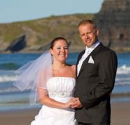 Wedding couple photographed against a dramatic vista