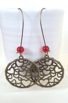 Red Circle Heart Bronze Earrings Red Earrings Heart by NiikNakks
