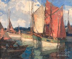 Brittany Boats, by Edgar Payne (American), oil on canvas, genre: Impressionism, no date Landscape Art, Landscape Paintings, Landscapes, Edgar Payne, California Art, Pasadena California, Environment Painting, Sailboat Art, Boat Painting