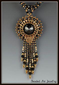 Midnight Jewel Bead Embroidered, Beadwork, Beadwoven, Beaded Necklace