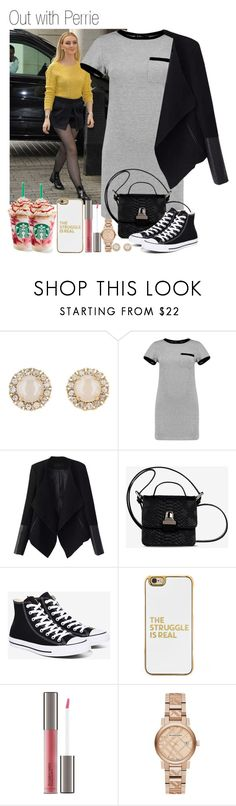 """""""668 • Out with Perrie"""" by queenxxbee ❤ liked on Polyvore featuring Kate Spade, Boohoo, Relaxfeel, MM6 Maison Margiela, Converse, BaubleBar, Perricone MD, Burberry, littlemix and perrieedwards"""