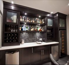 Basement Bar- conceptual- would need glass sliding doors with locks for liquor. #GlassShelves