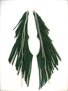 Daoine Sidhe leather earrings long earrings fringe by ulantia, $41.02 #ulantia #fringe #green #earrings #leather #jewelry