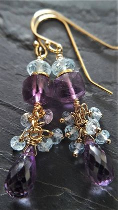 Amethyst And Blue Topaz Earrings Blue Topaz Earrings
