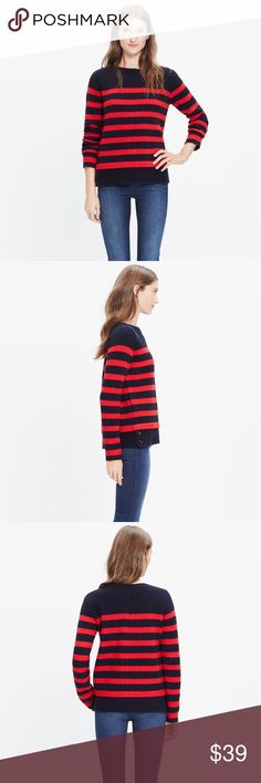 """Madewell Striped Anchorlight Sweater size small 🦄 Size small. Originally $98. """"A timeless ribbed sweater, knit from supersoft merino wool and updated with a boiled wool hem for a no-fuss layered look. Stripes add a welcomed nautical touch in the frosty months (even when the lakes are frozen over)."""" 🦄 Madewell Sweaters Crew & Scoop Necks"""