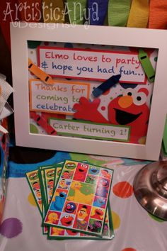 {Artistic Anya Designs} Elmo and Friends-Sesame Street 1st Birthday - Party Favor Sign