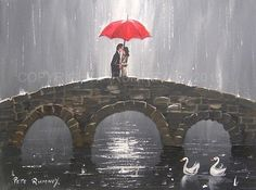 PETE RUMNEY FINE ART MODERN ACRYLIC OIL ORIGINAL PAINTING TOGETHER ON THE BRIDGE in Art, Artists (Self-Representing), Paintings | eBay