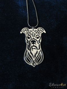 Boxer jewelry - silver, dog jewelry - pendant and necklace. $75.00, via Etsy.