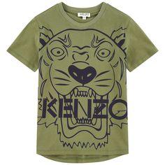 89a19cde0f9d  Tiger  Short Sleeve Shirt in Khaki Green. Kenzo Kids