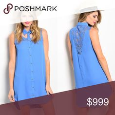 🌟COMING SOON🌟 BLUE WOVEN TEE SHIRT DRESS🌟 This woven shirt-dress features a cutout yoke and lace panels on shoulders. Hem is hi-low. Beautiful blue color. 100% polyester. Available in S-M-L. Price: $38. Dresses