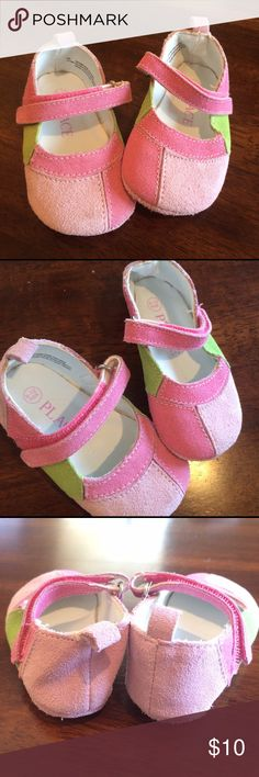 Adorable Pink & Green Maryjane Baby Shoes 6-12mo EUC - these look like they've never been worn! Children's Place Shoes Baby & Walker