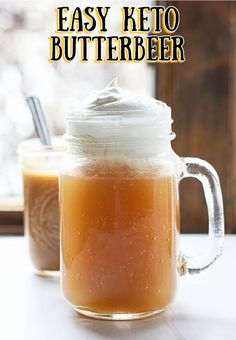 Boozy Keto Butterbeer Recipe - tasty sugar free drink even without alcohol! Sugar Free Drinks, Sugar Free Desserts, Sugar Free Recipes, Low Carb Recipes, Keto Desserts, Healthy Recipes, Low Carb Mixed Drinks, Low Carb Drinks, Low Carb Smoothies
