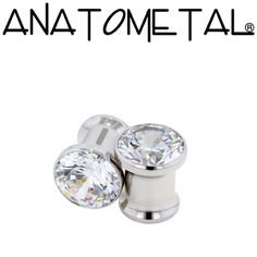 0ga Single Stone Eyelets in stainless steel; cubic zirconia gems