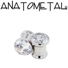0ga Single Stone Eyelets in stainless steel; cubic zirconia gems