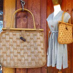 Macrame Purse Bag Handbag Hippie Boho 1970s 70s Jute Bamboo Handles Wood Bead Woven Braided