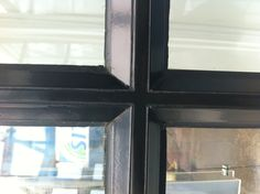 Windows with individual panels. Close up of outside.