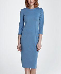 Blue Three-Quarter Sleeve Dress