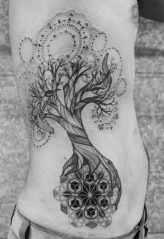 Lovely tree sidepiece tattoo. Love the delicate dot work that the artist did.