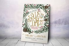 Printable Save the Date Postcard  Winter Save the Date by plpapers, $20.00