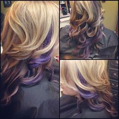 Curly blonde hair with purple peek-a-boo highlights, I would love strawberry blonde instead if the purple