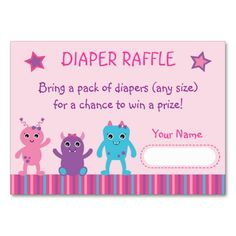 Girl Monster Diaper Raffle Tickets
