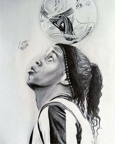 Brazil Football Team, Ronaldo Football, Football Art, Ronaldinho Wallpapers, Cristiano Ronaldo Wallpapers, Pencil Portrait, Portrait Art, Pencil Art Drawings, Art Sketches