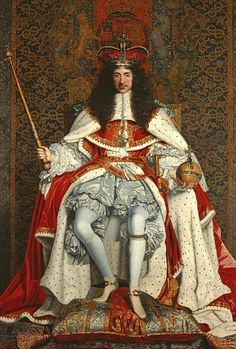 Charles II on the throne after the monarchy was restored