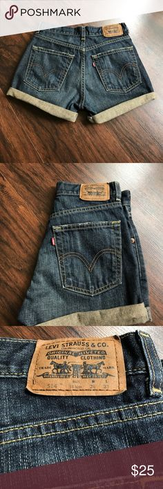 "Levi's high waisted shorts 26"" 10"" rise 13"" flat across the waist (waist 26"") hips are 35"" please know your size according to these measurements and Levi's so that you can ensure they fit you properly. No trading. 💕 Levi's Shorts Jean Shorts"
