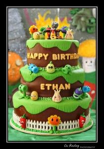 The Cake Class: Plants vs Zombie Cake Tutorial Zombie Birthday Cakes, Zombie Birthday Parties, 5th Birthday Party Ideas, Zombie Party, 8th Birthday, November Birthday, Plants Vs Zombies, Plantas Versus Zombies, Festa Angry Birds