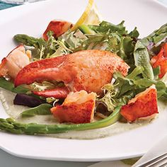 Lobster Salad with Asparagus Herb Mayonnaise (Scroll down page for recipe.)