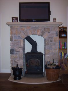 stanley erin stove with stone fireplace Decor, Stone Fireplace, Stove, Sitting Room, Stone, Stanley Stove, Home Decor, Room, Fireplace