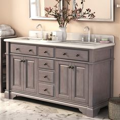 Features:  -Sink finish: Antique coffee.  -Carrara white marble top.  Style: -Traditional.  Base Finish: -Antique Coffee.  Top Finish: -White/ Light Grey.  Base Material: -Wood/Manufactured wood.  Top