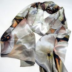 A personal favorite from my Etsy shop https://www.etsy.com/listing/258356844/pear-tree-bloosoms-bee-silk-satin-scarf