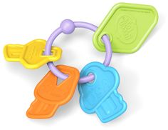Unlock the door to safe, eco-friendly teething for your baby with the My First Green Toys™ First Keys. The four colorful pieces swing freely on the lightweight ring, allowing little ones to easily gra