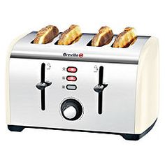 This stainless steel four slice toaster from Breville has a variable browning control as well as variable width control for the perfect slice. Retro Toaster, Small Appliances, Kitchen Appliances, Stainless Steel Toaster, Sainsburys, Best Blogs, House Of Fraser