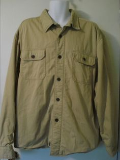 CHAPS FLEECE LINED FLANNEL SHIRT JACKET SIZE XXL TAN QUILTED SLEEVES #Chaps #shirt