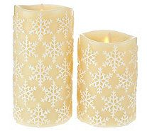 "Luminara 5"" and 7"" Snowflake Embossed Flameless Candles - H208846"