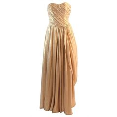 Preowned Elizabeth Mason Couture Custom Draped Strapless Gold Lame... ($5,895) ❤ liked on Polyvore featuring dresses, gowns, long dresses and brown