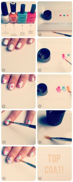 DIY floral nail art. (( 3 is  nail polish remover))