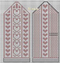 Uman oma käspaikka: Käsityö 17: Sydänlapaset ystävänpäivään Fair Isle Knitting Patterns, Fair Isle Pattern, Knitting Charts, Knitting Stitches, Knit Mittens, Mitten Gloves, Knitting Socks, Crochet Chart, Knit Crochet