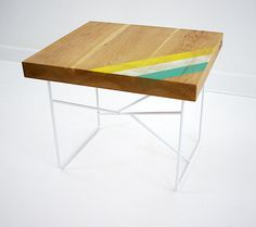 Modern Cherry and steel Sidetable