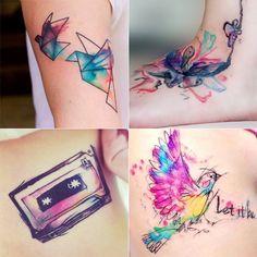 As fantásticas tatuagens aquarela