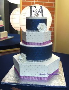 Elegant Navy Blue, White and Pink Wedding Cake