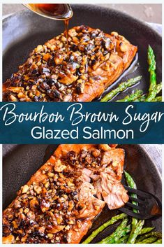 Bourbon Brown Sugar Salmon Recipe – The Cookie Rookie® (VIDEO!) This Brown Sugar Salmon recipe is so simple yet so delicious! Start with a salmon marinade with brown sugar, soy sauce, and bourbon to. Seafood Recipes, New Recipes, Dinner Recipes, Cooking Recipes, Healthy Recipes, Bourbon Recipes, Soup Recipes, Vegetarian Recipes, Dining