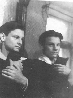 the russian director Andrej Tarkovskij אנדריי טרקובסקי on his 16th birthday with a cat.