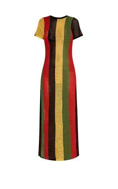 Riana Striped Side Split Knitted Maxi Dress Image 4