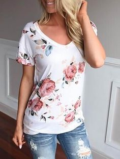 Trendy Short Sleeve Foral Print T-shirt