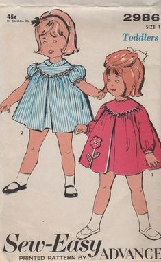 Vintage 1960s Toddlers Dress and Smock Sewing Pattern | vintagethrills - Craft Supplies on ArtFire